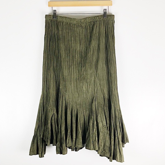 Flair Dresses & Skirts - Flair Faux Suede Olive Green Midi Skirt Size XL